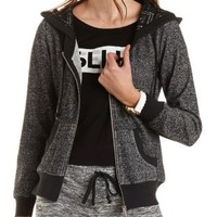 Marled French Terry Zip-Up Hoodie - Charcoal Heather