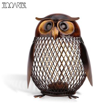 Tooarts Money Box Owl Shaped Metal Piggy Bank Coin Bank Modern Money Saving Box Home Decor Figurines Craft Gift For Kids