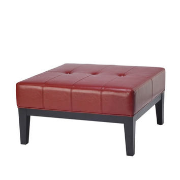 Safavieh Home Furniture HUD8238R Small Square Red Fulton Leather Ottoman