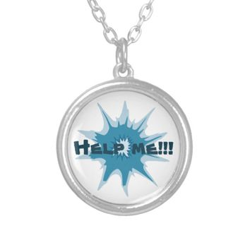 Blue bullet hole. Add your text. Silver Plated Necklace