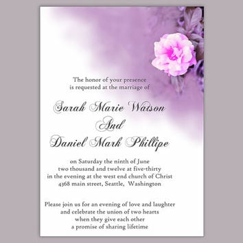 DIY Wedding Invitation Template Editable Word File Instant Download Printable Floral Invitation Rose Wedding Invitation Eggplant Invitation