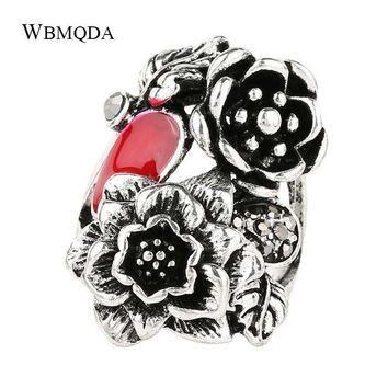 Vintage Black Red Enamel Flower Leaf Rings For Women Antique Silver Punk Gothic Ring Tibetan Jewelry Trending Products 2018