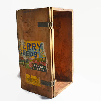 Vintage Wood Box, Ferry Seeds Display Box, Primitive Storage Box, Collector's Wooden Box with Lid