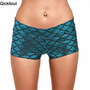 Qickitout Shorts 2016 Womens New Styles Elasticity High Waist Shorts Sky Blue Scales Mermaid Digtal Print Fitness Shorts
