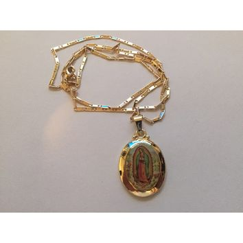 14K Gold Our Lady of Guadalupe Necklace and Pendant Brand New