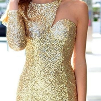 Gold Sequin One Shoulder Long Sleeve Fitted Mini Dress