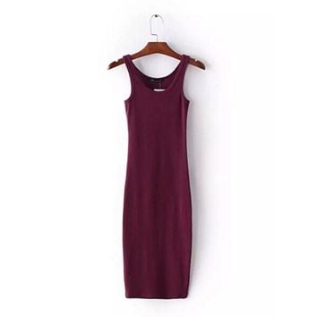 Prevalent New Sexy O Neck Stretch Midi Dress Women Brandy Melville Vintage Package Hips Long Tank Dresses 4 Colors