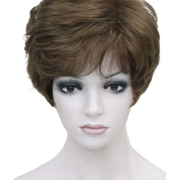 ONETOW Strong Beauty Shag Style Synthetic Full Wigs Short Wavy Layered Dark Auburn Custom Wig For African American