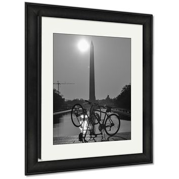 Framed Print, Washington Dc Washington Monument And Tour Bikes Silhouettes Travel Symbol