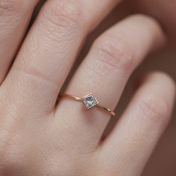 Dainty Princess Engagement Ring - 0.30 Carat Princess Cut Diamond - 14k Solid Gold.