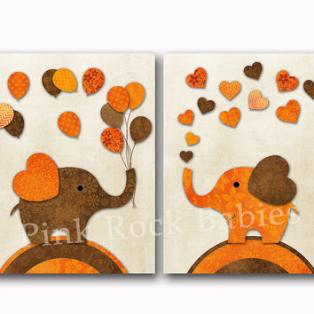 Elephant nursery art orange brown wall decor baby girl bedroom artwork kids room playroom decoration toddler poster newborn shower gift