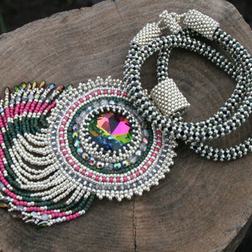 crystal necklace, embroidered silver pendant, seed bead beaded fringe necklace, beadwork beadwork art, gothic victorian necklace for her