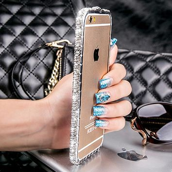 "Luxury Bling Snake Diamond Inlay Metal Rhinestone Bumper fashional Diamond bezel phone case for iPhone 6  6s plus 5.5"" Inch"