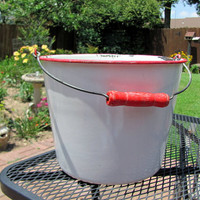 Red and White Graniteware Bucket / Graniteware Bucket from the Farm / Bucket for Household Duties