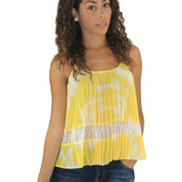 BCBGeneration Yellow Pleated Tank