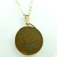 British Half Penny Coin Pendant George VI Golden Hind Ship Gold Filled
