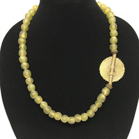 Green African Frosted Glass Beads Necklace with Antique Brass Pendant