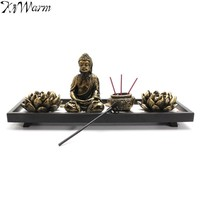 Zen Garden (Buddha, Incense Holder, Candle Holder, Rake, and Stones)