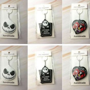 Mix  20pcs Nightmare Before Christmas Double-sided silicone  Key Ring Cover Holder Pendant Hadbag Bag Charms  Jewelry Gift Y-6