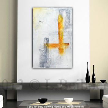Large original abstract painting contemporary art chalky white amber 24 x 36 modern acrylic abstract painting by L.Beiboer