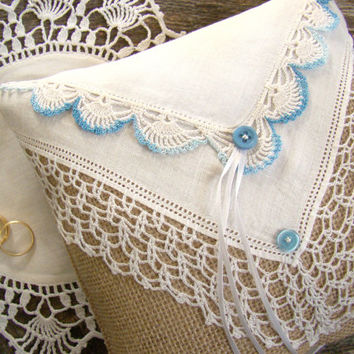 Wedding Ring Bearer Pillow, Ring Bearer Cushion, Burlap Ring Pillow, Vintage Styled Wedding, Rustic Chic Style, Something Blue, Handkerchief