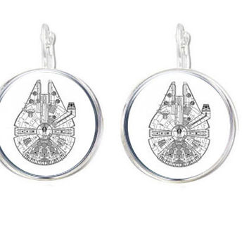 Silver Millennium Falcon Earrings, Necklace, Star Wars Bracelet, Ring