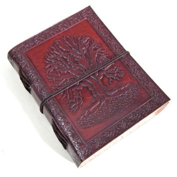 Handmade OAK Tree Emboss Blank Leather Journal Notebook Diary Sketchbook Album Blank Book Writing Pad