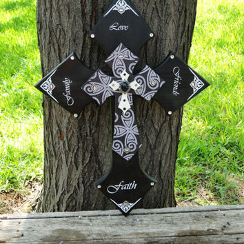 Decorative Crosses,Stacked Crosses,Wooden Cross,Wooden Cross Decor,Cross Decor,Wall Cross,Cross Wall Art,Decorative Cross,Black,White,Cross