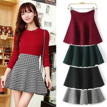 DCCKIX3 Red/Gray/Black/Green/Plaid Skirts New 2015 Spring Winter Ladies Fashion Casual High Waist Kintted Pleated Women Skirt = 1945918404