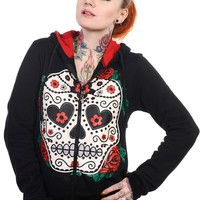 Gothic Day of the Dead Flower Sugar Skull & Rose Women's Hoodie Jacket