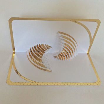 YIN-YANG Pop Up 3D Card in White & Gold Origamic Architecture w/Intricate Cuts Home Decoration Handmade One Of A Kind