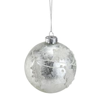 "Iced Sliver with White Glitter Leaves Glass Ball Christmas Ornament 3.25"" (80mm)"