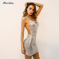 Muridou 2018 Sexy Diamond Halter Metal Party Summer Vesitos Backless Sequins Dress
