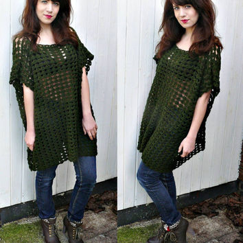 handmade emerald green crochet OVERSIZED SWEATER,box shape ,shell pattern,poncho,crochet top,one size fits most