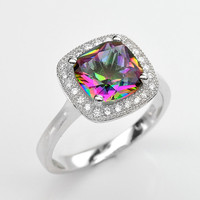 Handmade Natural Gemstone Jewelry, Genuine Mystic Rainbow Topaz Sterling Silver Ring  FD5A0025 RIS9-MYT299
