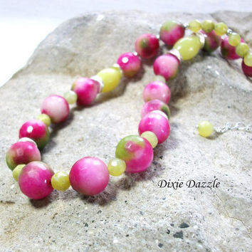 Cyber sale, Unique gift idea, Candy Jade and green jade, bright, colorful necklace, free earrings, necklace earring set. Shop small TN