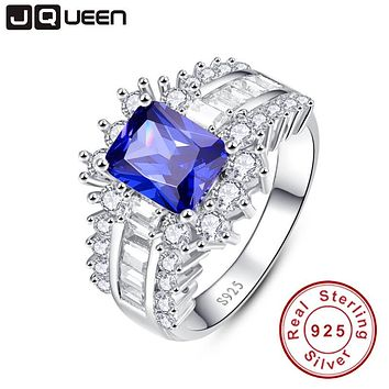 5.6ct Blue Sapphire Ring 925 silver ring woman 2016 Fashion S925 Ring Female Wedding Engagement Jewelry With Free Jewelry Box