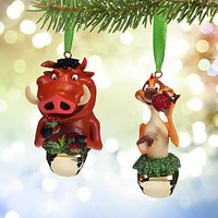 Disney Christmas Ornament Set Timon and Pumbaa Jingle Bells New with Tags