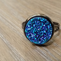 Druzy Ring- Blue green drusy gunmetal tone druzy ring