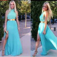 Women's Fashion Summer Dress Chiffon Sexy Sleeveless Pleated Long Maxi Evening Party Cocktail Dress = 5739625793