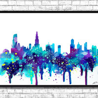 Chicago Watercolor Print, City Skyline, Chicago Watercolor, City Watercolor, City Silhouette, Wall Hanging,Home Decor, Giclee Wall Art