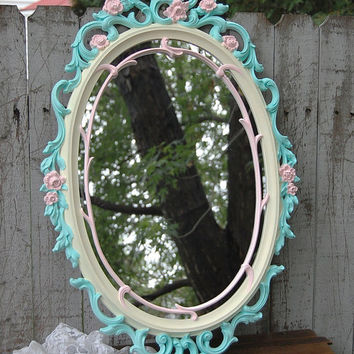 Shabby Chic Mirror, Mint Green, Pink, Ivory, Upcycled, Vintage, Ornate, Syroco, Wedding Decor, Oval, Hollywood Regency