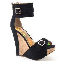 Luichiny Shoes More N More Black Wedge Sandals Imi Suede