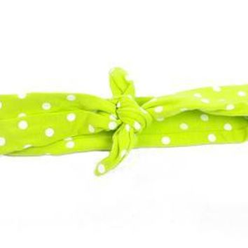 Lime Green and White Dot Adjustable Tie Knot Headband