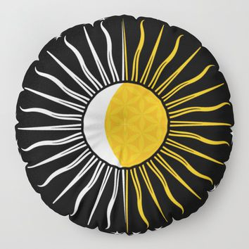 Lunar-Sol Flower Of Life Sun Moon & Stars Black White Yellow Floor Pillow by inspiredimages