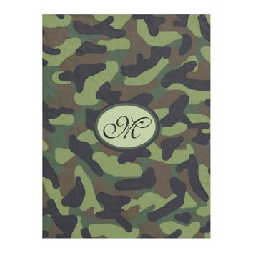 Monogram Personalized Green Camo Camouflage Fleece Blanket