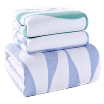 Strong Absorbent Corrugated Bath Towels Linen Sets(Multicolor)