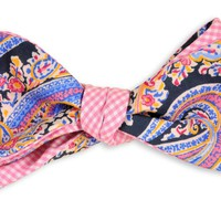 Pimm's Paisley Reversible Bow Tie in Navy Pimm's Paisley and Pink Gingham Check by High Cotton