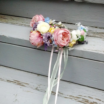 Pastel Garden hair wreath wedding accessories Couture Designed Bridal statement Flower crown colours pink, lilac, white, yellow Silk Peonies