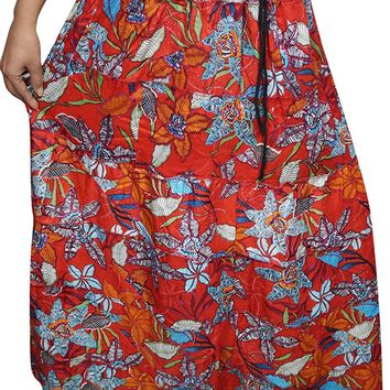 Mogul Interior Adreena Women Medieval Skirts Red Floral Printed A-Line Flirty Hippie Long Maxi Skirts